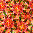 Seamless pattern with abstract bright flowers. Halftone effect. Vector, EPS 10