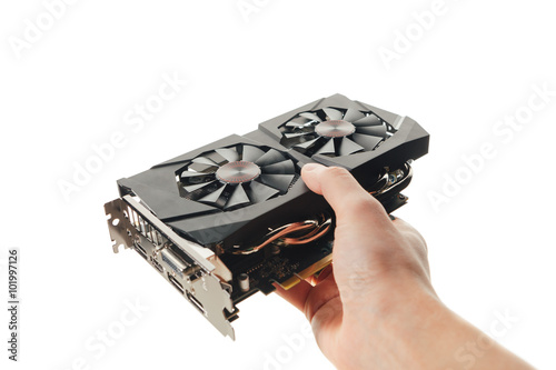 graphic video card in a hand, isolated on white Poster