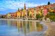 Colorful medieval town Menton on Riviera, Mediterranean sea, Fra