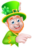 Leprechaun Pointing Round Sign