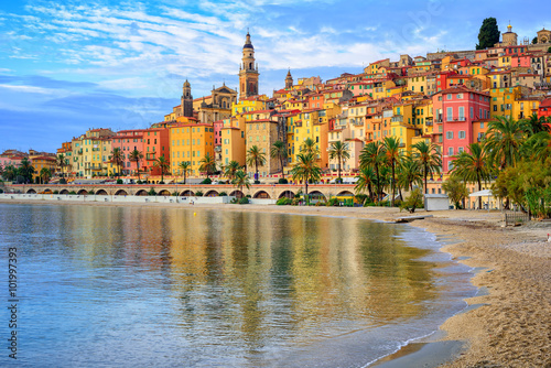 Poster Nice Colorful medieval town Menton on Riviera, Mediterranean sea, Fra