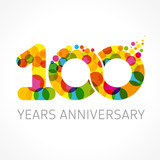 100 years anniversary infinity color logo. Template logo 100th anniversary with a color circle in the form of a  infinity
