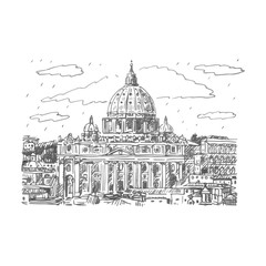 St. Peter's basilica in Vatican, Rome, Italy. Vector hand drawn sketch.
