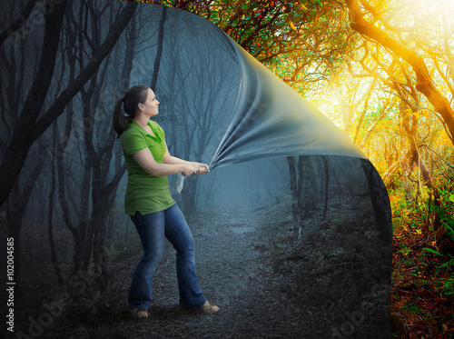 Woman and scary forest