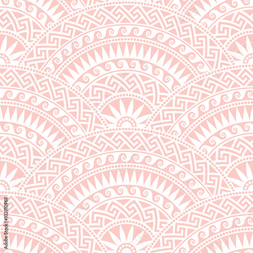 Traditional  seamless vintage pink and white fan shaped ornate elements with Greek patterns, Meander - 102010968