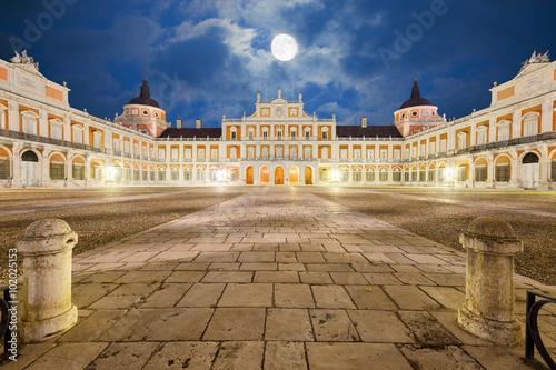 Royal Palace of Aranjuez, main court at night. Community of Madrid, Spain