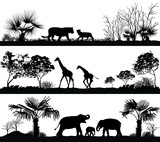 wild animals (giraffe, elephant, lion) in different habitats