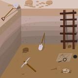 Archeology vector illustrations. Archeology vector symbols. Archaeologist , map, magnifier, compass, shovel, pick, skull, brush vector symbols. Eps10 illustrations.