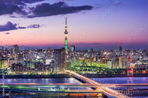 Póster Tokio, Japón Skyline
