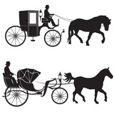 Carriage  Horse Hansomcab Set Wall Sticker