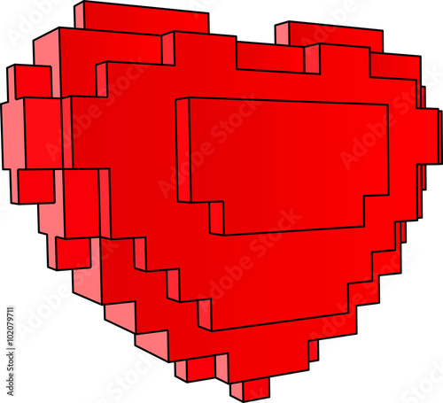 red heart of blocks