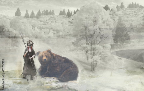 girl warrior and bear on snow
