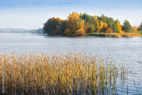 Fototapety, obrazy : Lake Elk in autumn. Masuria, Elk, Poland.