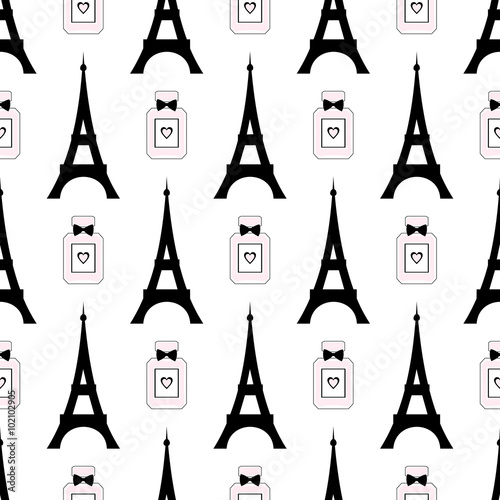 Cotton fabric Cute cartoon tour Eiffel with perfume vector illustration. Paris symbols seamless pattern. Romantic travel in Paris.