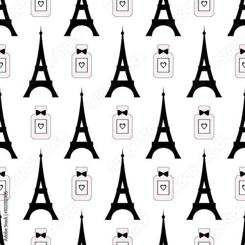 Materiał do szycia Kreskówka tour Eiffel z ilustracji wektorowych perfum. Paryż symbole jednolity wzór. Romantyczna podróż w Paryżu.