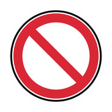 vector prohibited symbol, red and black sign isolated on white