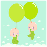 Cute newborn baby twins flying in the sky holding  balloons.