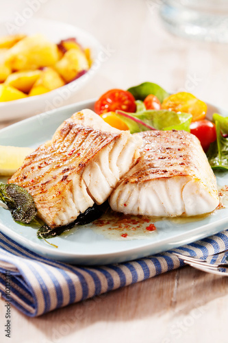 Grilled or oven-baked pollock fillets
