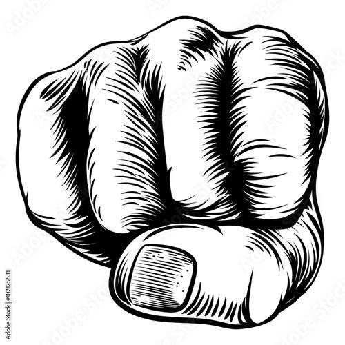 Fototapeta Woodcut Etching Fist Hand