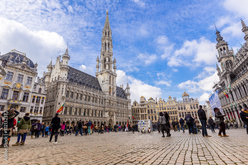 Foto op Aluminium Brussel Grand place in summer Brussels,Belgium