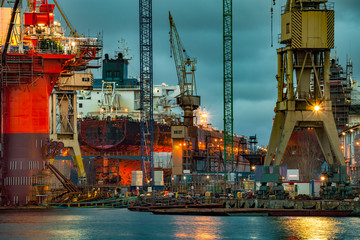 Shipyard industry - Ship under construction in Gdansk, Poland.