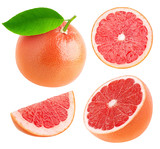 Fototapety Isolated whole and cut grapefruits collection