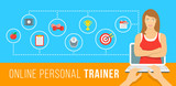 Fototapety Online personal fitness trainer infographic vector illustration. Concept of web training with virtual instructor who gives advice on diet, workouts plan, healthy nutrition, weight loss, goals setting