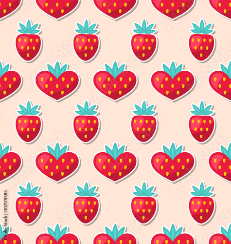 Cotton fabric Simple Seamless Wallpaper with Hearts and Strawberry