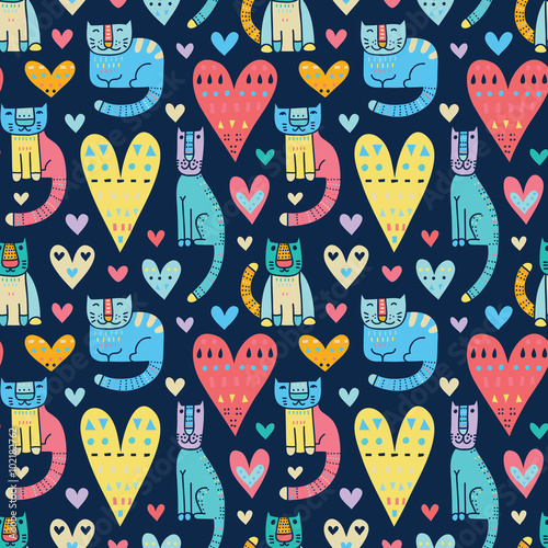 Cotton fabric Cats and love, love and cats. Funny colorful vector seamless pat