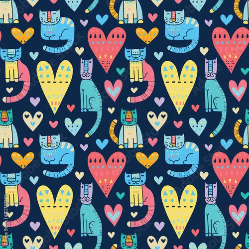 Materiał do szycia Koty i miłość, miłość i koty. Zabawne, kolorowe wektor bezszwowe pat
