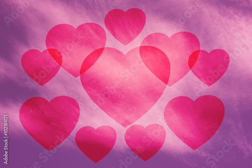 Fotobehang Roze Valentine Sky background , pink , heart