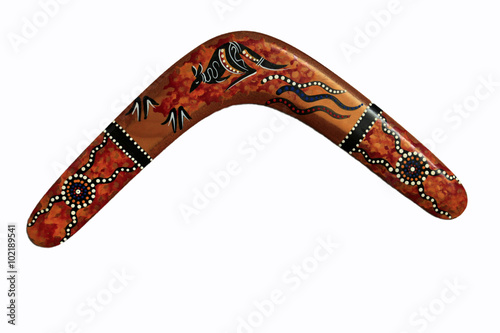 Poster boomerang décoré en bois