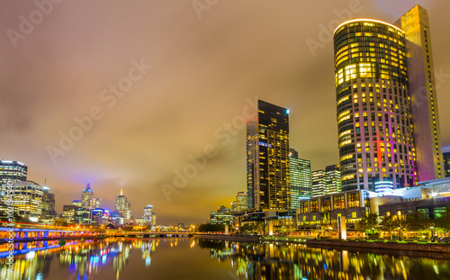 Poster Yarra River and Melbourne skyline.