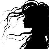 Fototapety silhouette profile of hair, vector