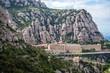 Obrazy na płótnie, fototapety, zdjęcia, fotoobrazy drukowane : Aerial view on Santa Maria de Montserrat Abbey in Montserrat mountains, Spain