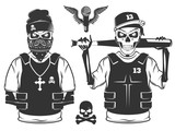 Fototapety Set of rap skull and hip hop skeleton black and white style
