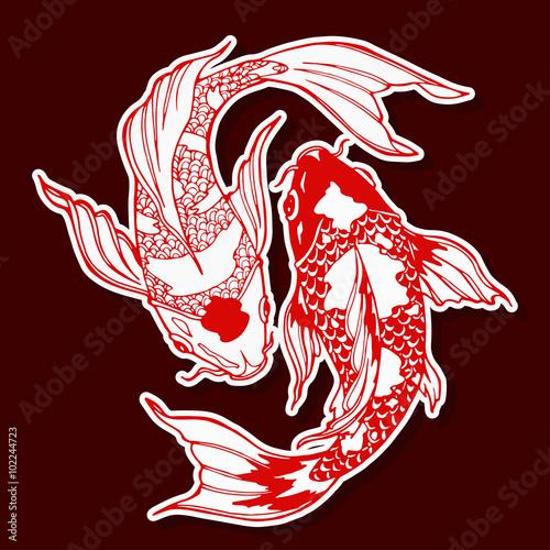 Naklejka koi fish; ying yang symbol