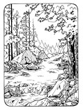 Fototapety coloring page with river and the wood