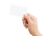 female hand holding blank card isolated clipping path in image d