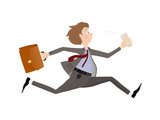 Employee rush to the office to the beginning of the working day. Business man late for an appointment.