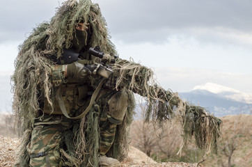 Ghillie suit sniper camouflage enemy