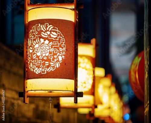 Fototapeta Night view of traditional oriental Chinese street lanterns