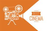 Composition with cinema decorative design elements. Cinema projector illustration for web, flyers, print design. - 102266992
