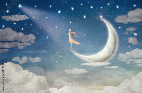 Girl on moon  admires  the night sky  - illustration art © natalia_maroz