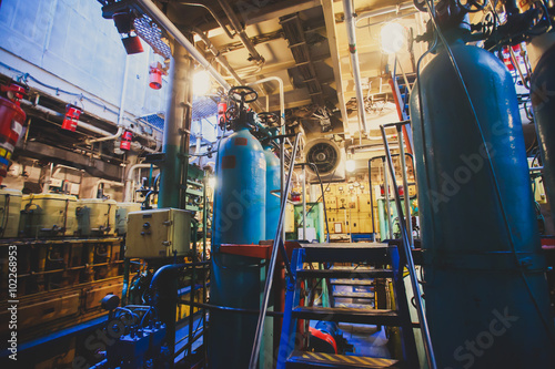 Engine Room on a cargo boat ship interior, ship's engine heavy Machinery Space - Poster