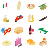 Italy isometric 3d icons