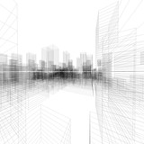 Fototapety Perspective 3D render of building wireframe.