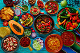 Mexican food mix colorful background - 102286105