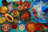 Mexican food mix colorful background - 102286714