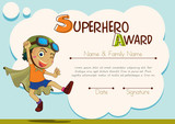 Certificate template with boy being superhero